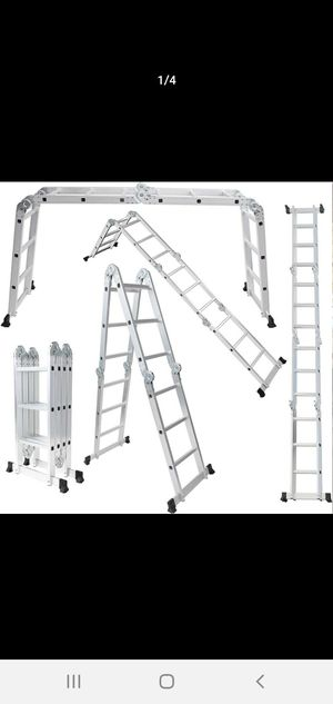 OxGord Aluminum-Multi-Folding-Ladder - Lightweight and Safety-Heavy-Duty Extension, Dual-Height for Sale in Phoenix, AZ