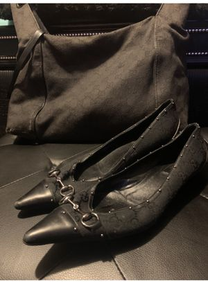 Gucci denim shoes w/ silver metal pivots sz 8.5 for Sale in Queens, NY