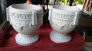 """Beautiful Pair of Vintage Concrete Flower Pots / Planters - 13"""" x 13 1/2"""" for Sale in Eustis, FL"""