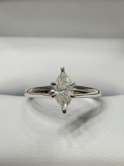 Engagement Ring - Size 6, 18k White gold, 0.56CT Solitaire Marquise Natural diamond for Sale in Pittsburgh,  PA