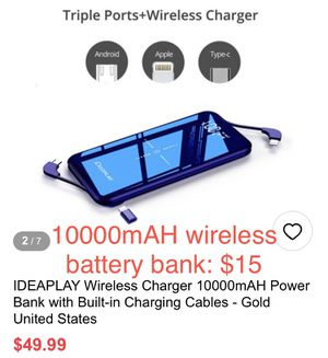 10000mAH wireless battery bank, new in box for Sale in Ontario, CA