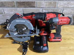 """CRAFTSMAN SET (Drill + impact + 2 batteries + charger & CORDED CIRCULAR SAW 7 1/4"""") USED for Sale in Deer Park, TX"""