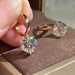 18K Rose Gold 1CT Heart Cut Diamond Dangle Hoop Earrings for Sale in Shelbyville,  TN