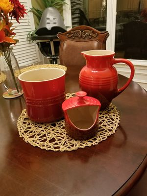 LA CREUSET LARGE PITCHER + UTENSIL KEEPER + SALT KEEPER, RED for Sale in Raleigh, NC