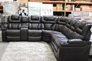 Reclining Powered Faux Leather Sectional Sofa with Adj. Headrest, Brown for Sale in Santa Fe Springs, CA