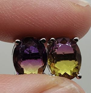 Natural Purple & Yellow Tourmaline Sterling Silver Earrings for Sale in Haslet, TX