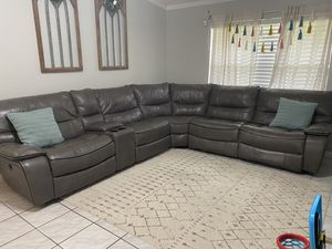 Leather sectional couch with recliners for Sale in Margate, FL