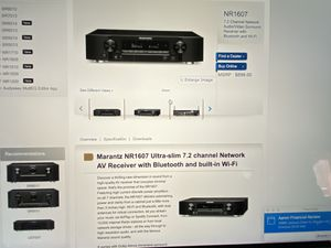 Marantz NR1607 Ultra-slim 7.2 channel Network AV receiver with Bluetooth and built-in Wi-Fi for Sale in Morgan Hill, CA