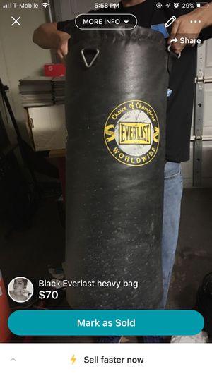 Black Everlast Heavy Punching Bag for Sale in San Angelo, TX