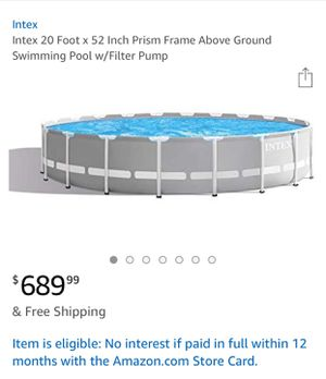Swimming pool 20 foot\52 inch use 1 week for Sale in Orlando, FL