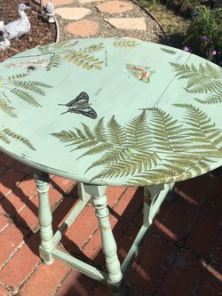 Vintage Hand Painted Dropleaf Table With Garden Art for Sale in Santa Clara,  CA