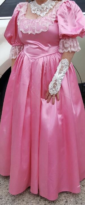 Lady's costume long, satin-type dress with lace. for Sale in Dublin, OH