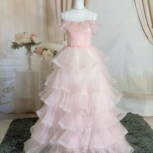 Spaghetti Strap Pink Tiered Tulle Prom Dress/ Quinceanera&Sweet 16 Dress/ Birthday Party. Size 2-4 for Sale in Fort Lauderdale, FL