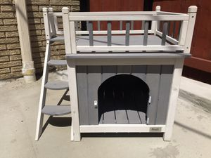 Petsfit indoor wooden dog cat pet house with stairs for Sale in Chicago, IL