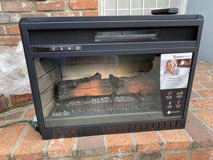 23in. Freestanding Electric Fireplace Insert Heater in Black with Tempered Glass and Remote Control New 23 wide x 17high 8deep for Sale in La Puente, CA