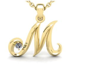 Diamond Accent M Swirly Initial Necklace In 14K Yellow Gold With 18 Inch Cable Chain for Sale in Milton, WA