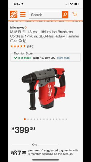 Milwaukee rotary hammer drill price firm for Sale in Arvada, CO