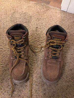 Coleman steel toe boots size 8.5 men tan for Sale in La Mesa, CA