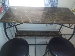 Faux marble bar table with stools for Sale in Auburndale, FL