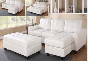 White leather sofa sectional couch for Sale in Paramount, CA