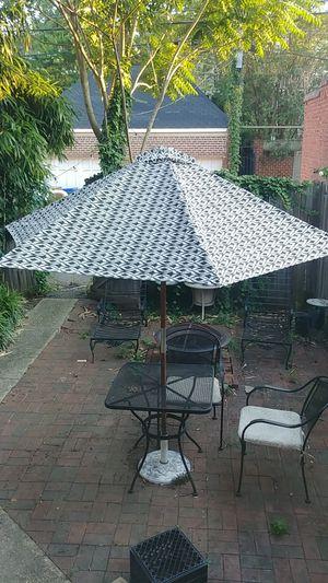 Pretty Black and White Patio Umbrella and Stand for Sale in Richmond, VA