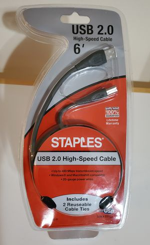 Staples 6ft USB 2.0 high speed type A male to type B male for Sale in Palm Springs, FL