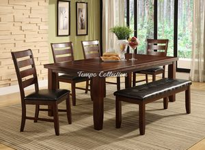 Dining Set with Extendable Table and Bench, Brown, SKU# MLT8840TC for Sale in Santa Fe Springs, CA