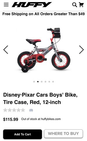 Disney Pixar cars boys bike w/tire case red and gray 12 inch bike for Sale in Vero Beach, FL
