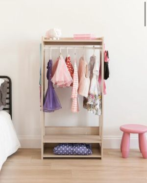 Compact Modern Neutral Multiple Use Clothing Rack for Kids or Adults with movable shelf, 47in x 24in for Sale in Glendale, AZ