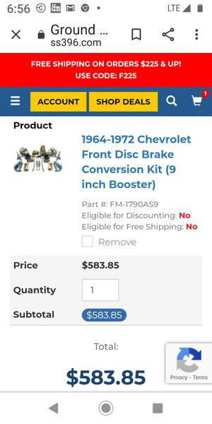 Chevelle disk brake conversion for Sale in Modesto, CA