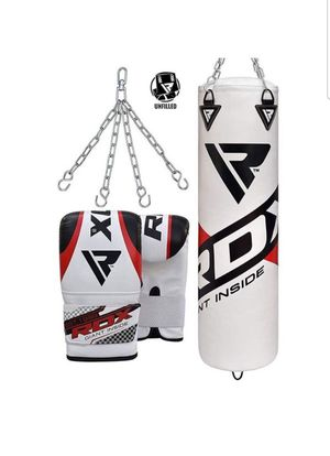 RDX Punching Bag UNFILLED Set Kick Boxing Heavy MMA Training with Gloves Punching Mitts Hanging Chain Muay Thai Martial Arts 4FT, New, PRICE IS for Sale in Arlington Heights, IL