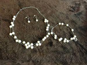 Fancy pearl necklace earrings bracelet for Sale in Alexandria, VA