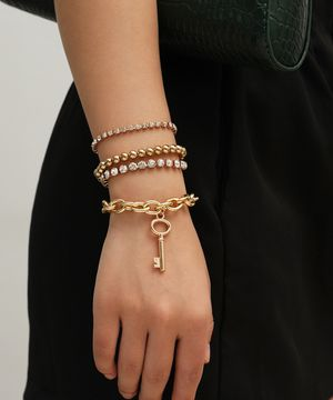 Multilayer Crystal Claw Chain Punk Style Cross Chain Bracelet, Gold Color for Sale in Los Angeles, CA