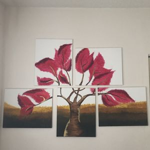 5 piece original tree painting- Acrylic on Canvas for Sale in Hialeah, FL