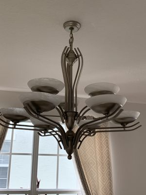 Contemporary Brushed Nickel/ Frosted Glass Chandelier for Sale in Fort Lauderdale, FL