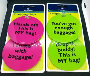 4 Piece Luggage Tags 2 Pack Lot Hot Pink Bright Green for Sale in Phoenix, AZ