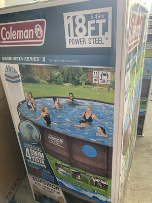 """BRAND NEW Coleman Power Steel Swim Vista Series II 18' x 48"""" Frame Swimming Pool Set with Pump, Ladder and Cover for Sale in Houston, TX"""