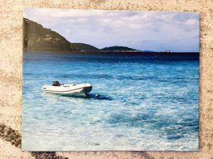 Boat by Beach Photo Print Canvas for Sale in New York, NY
