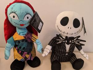 The nightmare before Christmas animated Jack and Sally 13 and 1/2 in talking singing plushies for Sale in Torrance, CA