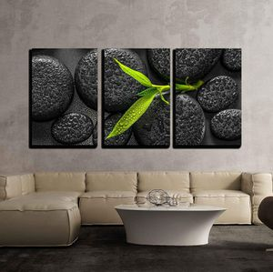 """Bamboo Branch on Zen Stone - Canvas Art Wall Decor - 24""""x36""""x3 Panels for Sale in Seattle, WA"""