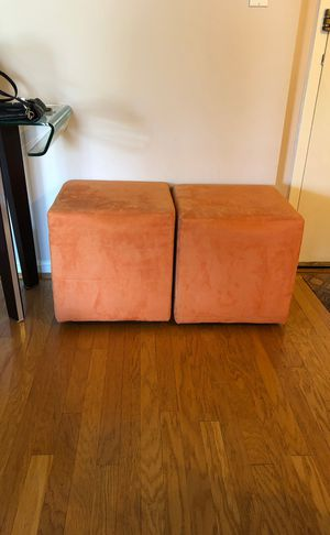 2 west elm orange cube chairs with wheels for Sale in Bethesda, MD