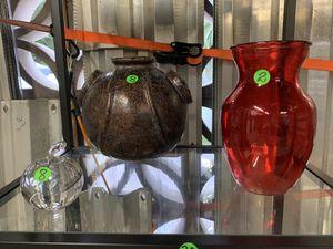 3 decorative items in glass, murano and stone for Sale in Pompano Beach, FL