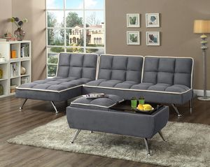 Grey Sectional and sleeper with ottoman has flip tray ( new ) for Sale in Hayward, CA