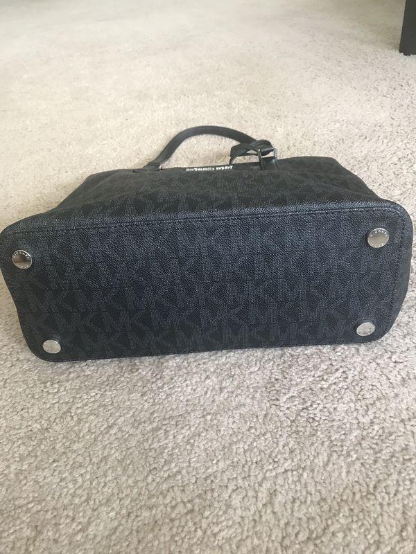 Michael Kors Morgan MD Tote Black Coated Canvas Shoulder Bag