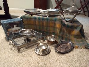 Silver plate serving dishes, casseroles, warmers for Sale in Olney, MD