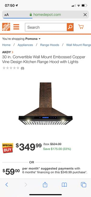 30 in. Convertible Wall Mount Embossed Copper Vine Design Kitchen Range Hood with Lights for Sale in Diamond Bar, CA