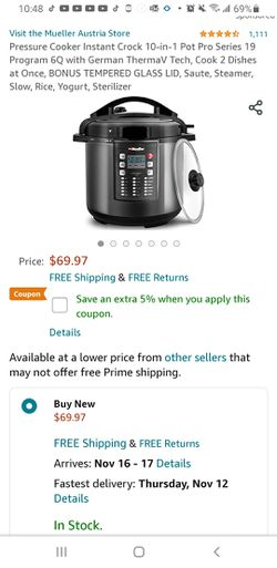 Pressure Cooker Instant Crock 10-in-1 Pot Pro Series 19 Program 6Q with German ThermaV Tech for Sale in Oakbrook Terrace,  IL