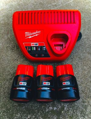 New Milwaukee M12 Red Lithium (3) 2.0 Battery & Charger for Sale in Modesto, CA
