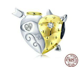 (Shipped Only) 925 Sterling Silver Angel & Devil Heart Charm Bead for Sale in Wichita, KS