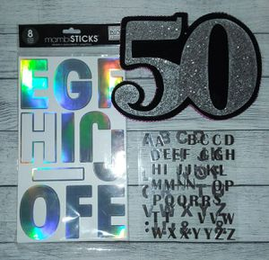 Number 50 Decoration For 50th Birthday Party With Iridescent & Silver Sticker Letters for Sale in Des Moines, WA